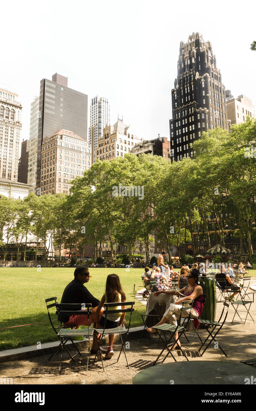 The Great Lawn, Public Bryant Park on a hot day, New York Public Library, New York City, Manhattan. USA Stock Photo