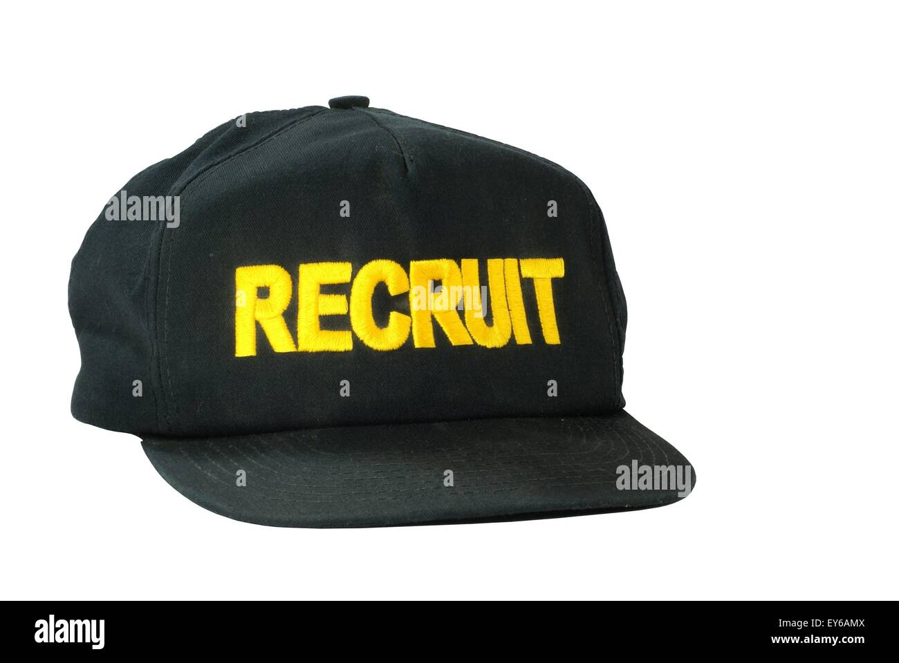 Isolated Military recruit baseball style cap with embroidered letters. - Stock Image