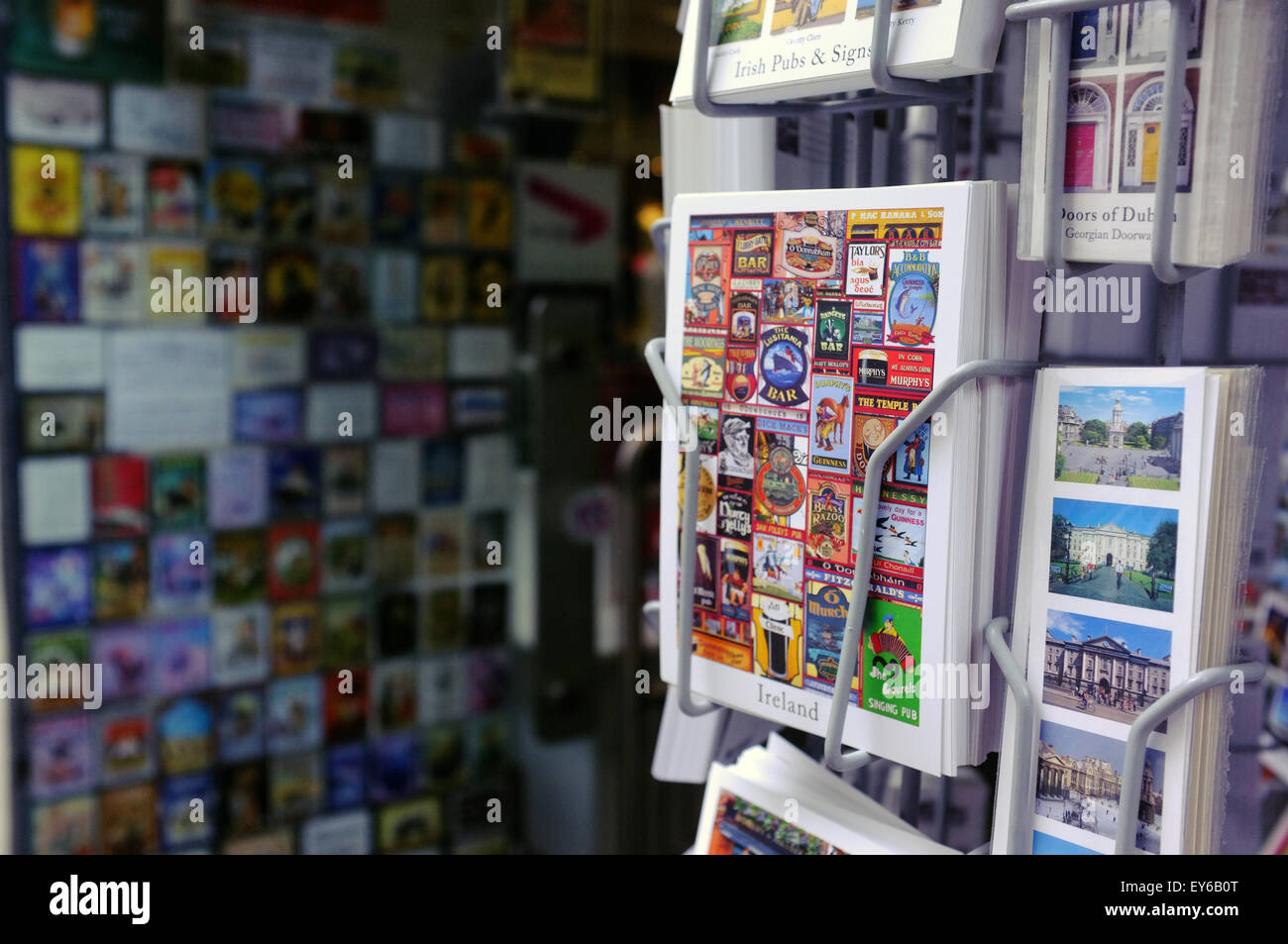 Irish Postcards for sale outside a tourist sharp in the Temple Bar area of Dublin. - Stock Image