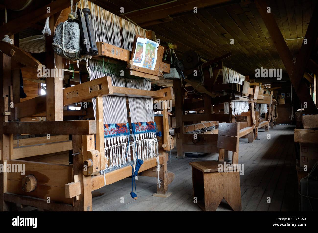Weaving loom. Puyuhuapi carpet factory. Puerto Puyuhuapi. Aysén Province. Chile - Stock Image