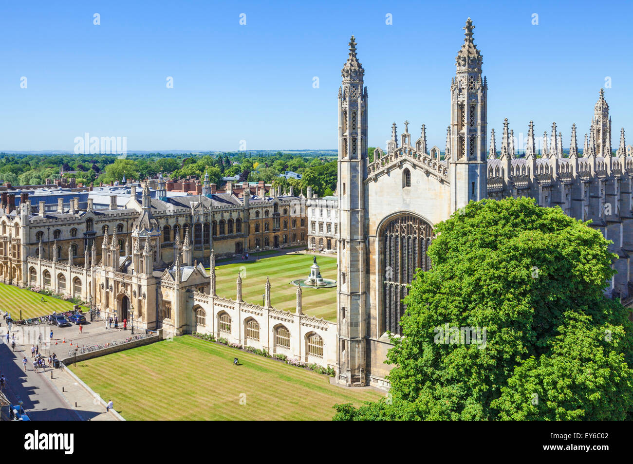 Kings college chapel and kings college Cambridge university Cambridgeshire England UK GB EU Europe - Stock Image