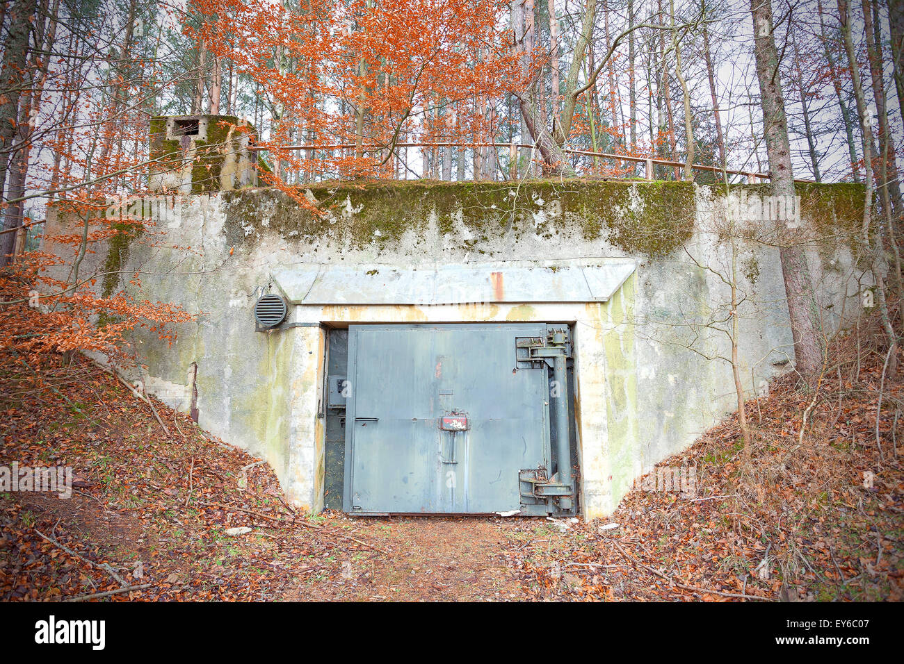 Old abandoned Cold War bunker in forest, Podborsko in Poland. - Stock Image