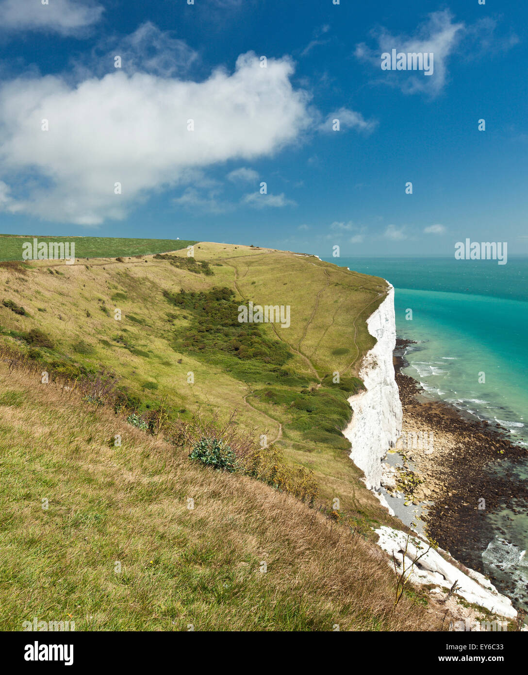 White cliffs country park, Fan Bay, Dover. - Stock Image