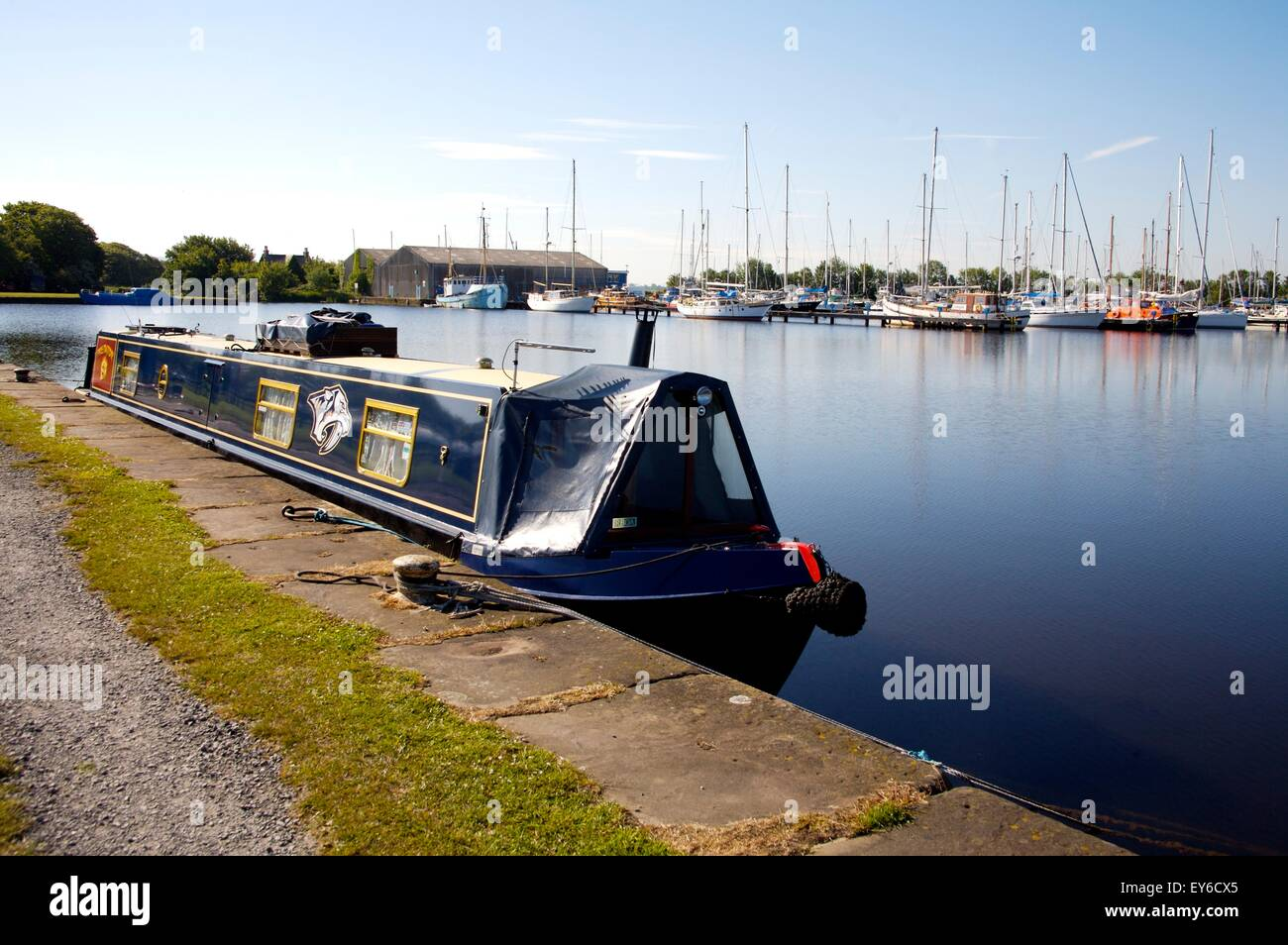 narrowboat moored in Glasson Docks on the Lancaster Canal, Lancashire - Stock Image