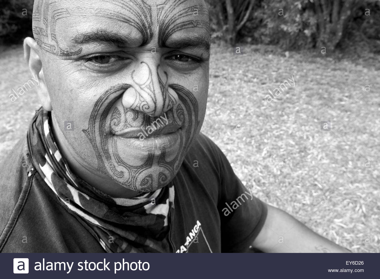 Portrait of a Maori participating in Waitangi Day annual commemorations on Waitangi Treaty Grounds, Bay of Islands, Stock Photo