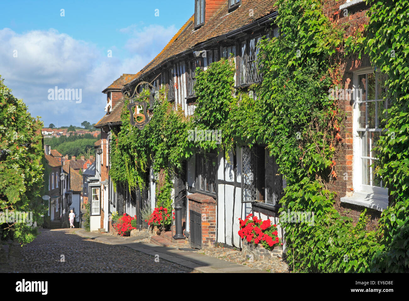 Rye Sussex. The historic ivy clad 15th Century Mermaid Inn, associated with smuggling in days gone by, Mermaid Street, - Stock Image
