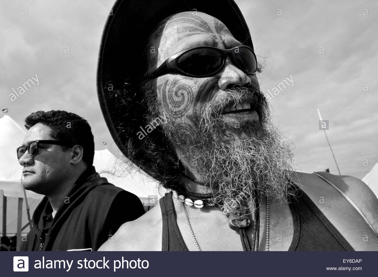 Portrait of a Maori participating in Waitangi Day annual commemorations on Waitangi Treaty Grounds, Bay of Islands, - Stock Image