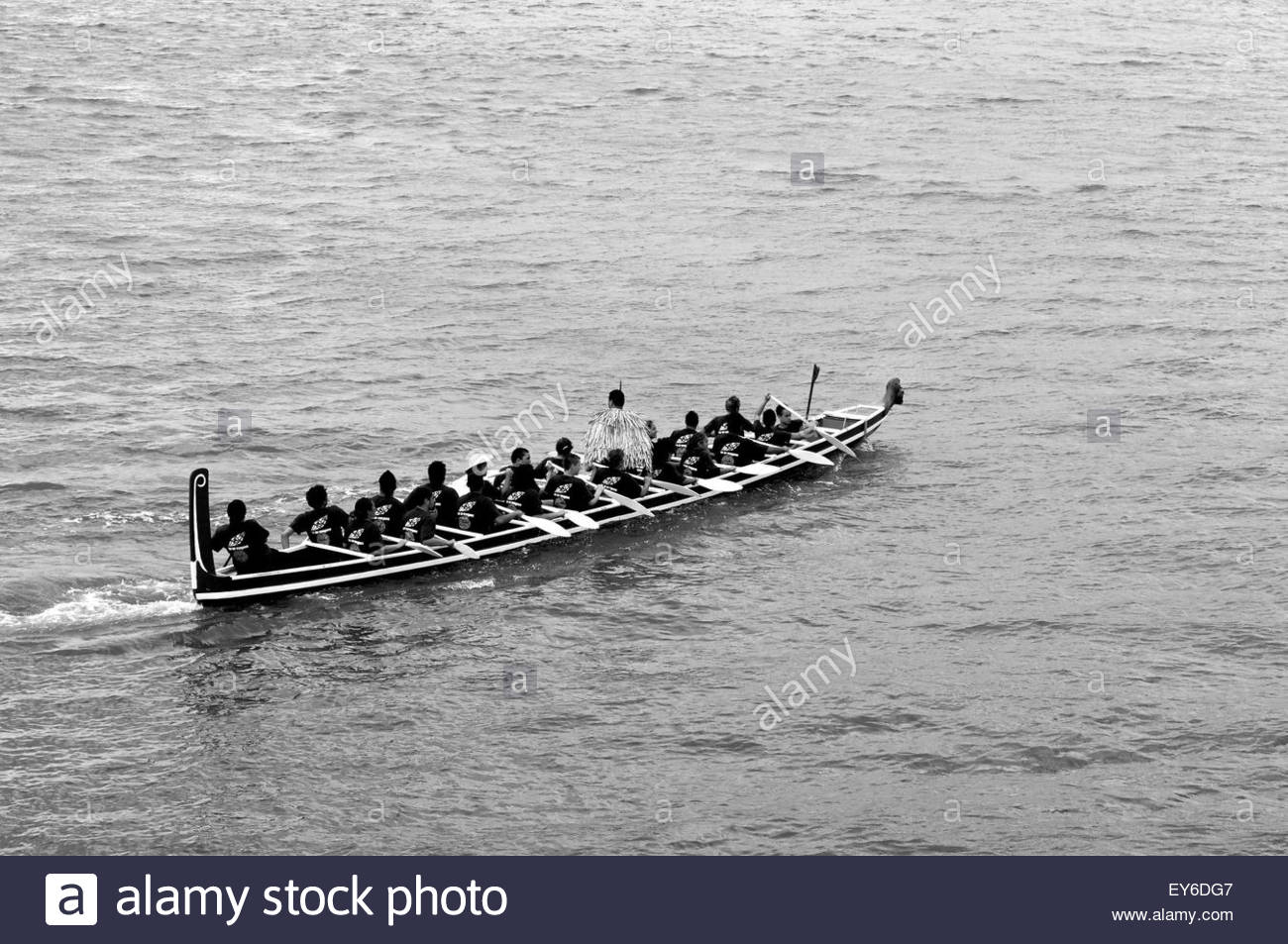 A waka (traditional Maori canoe) participates in Waitangi Day annual commemorations on Waitangi Treaty Grounds, - Stock Image
