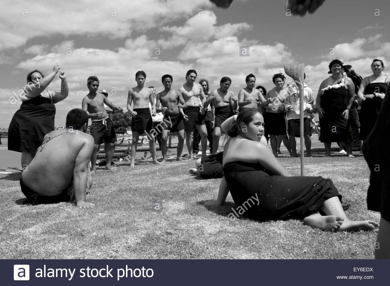 A group of Maori performs a traditional dance during Waitangi Day annual commemorations on Waitangi Treaty Grounds, Stock Photo