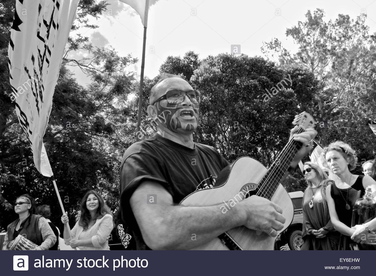 Maori activists' protest during Waitangi Day annual commemorations on Waitangi Treaty Grounds, Bay of Islands, - Stock Image