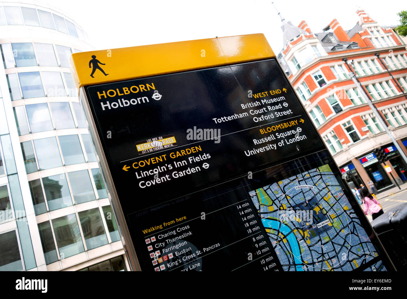 Holborn sign with offensive sticker (swear words), Holborn, WC2,  London UK - Stock Image