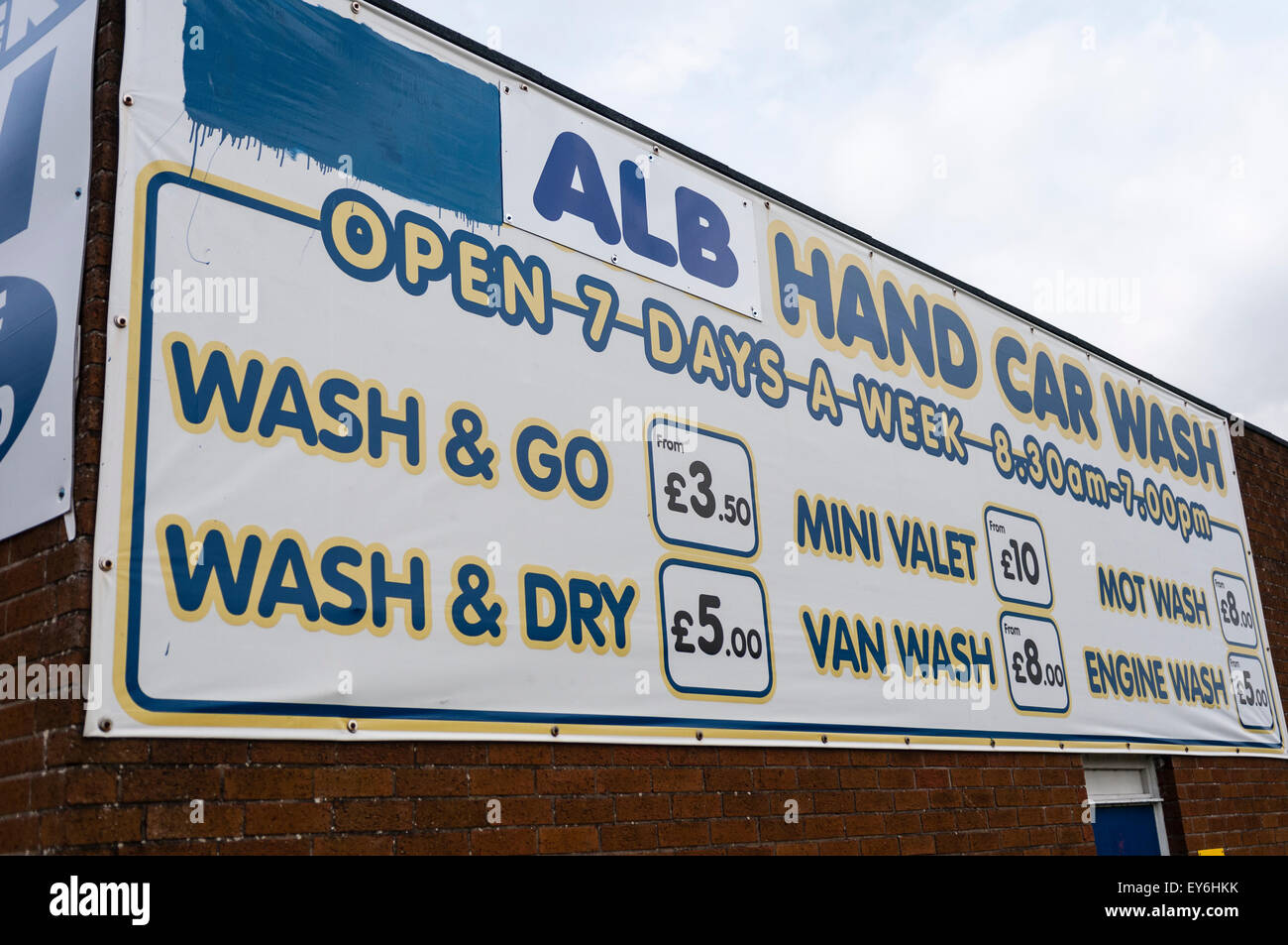 Prices At A Hand Car Wash Stock Photo 85582775 Alamy