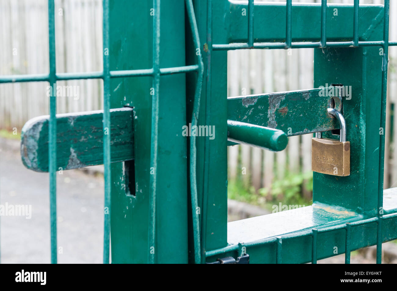 Padlock on a steel security gate - Stock Image