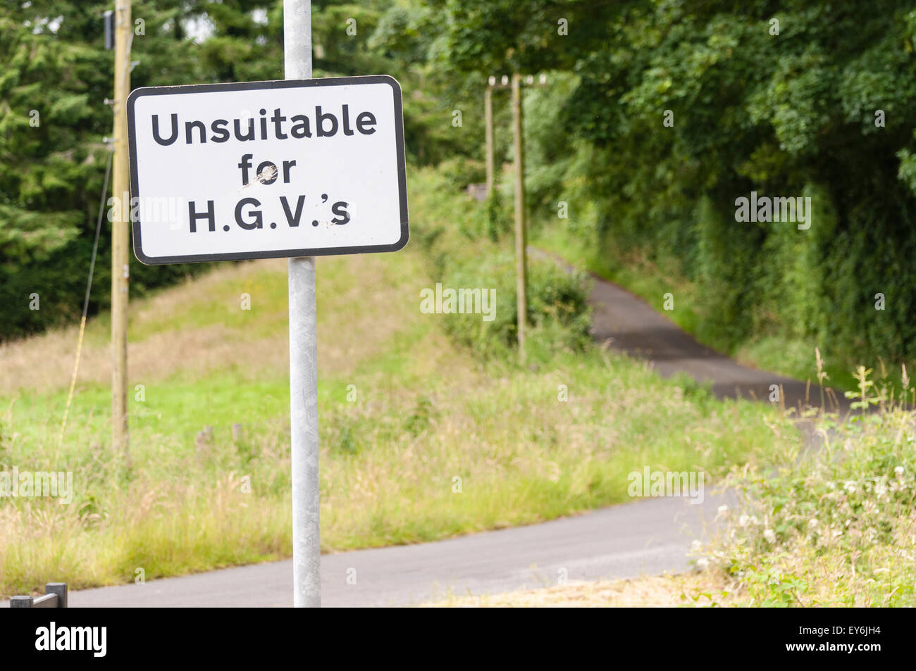 Sign warning that the road is unsuitable for heavy goods vehicles, with an unnecessary apostrophe - Stock Image