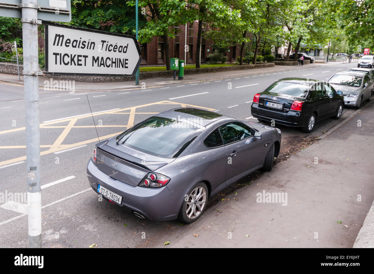 Sign for a car parking ticket machine in Dublin, Ireland - Stock Image