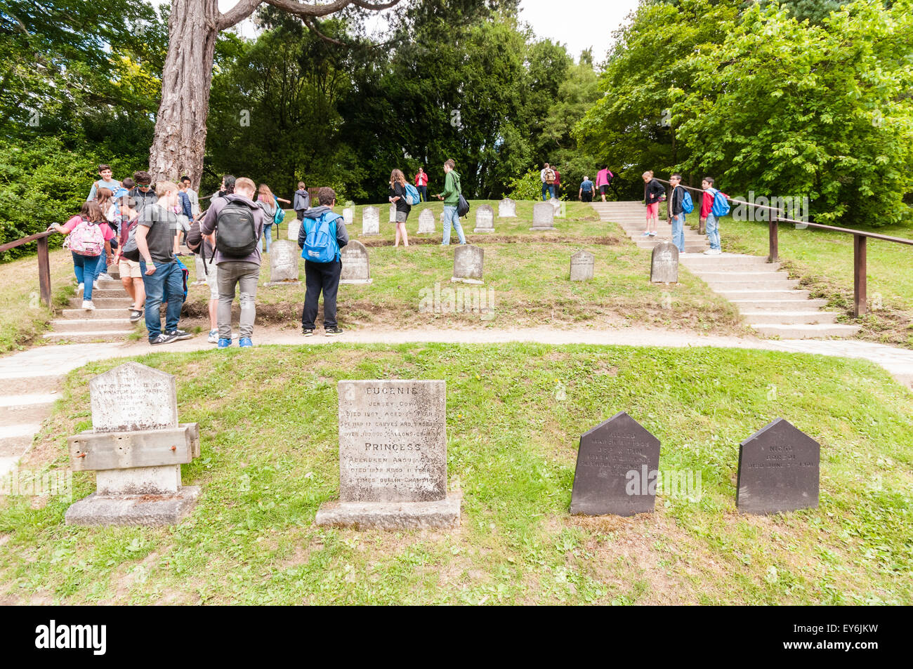 People visiting a pet cemetery at Powerscourt, Ireland - Stock Image