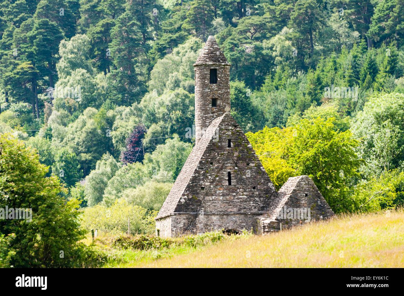 6th Century Monastic church at Glendalough, Wicklow, Ireland - Stock Image
