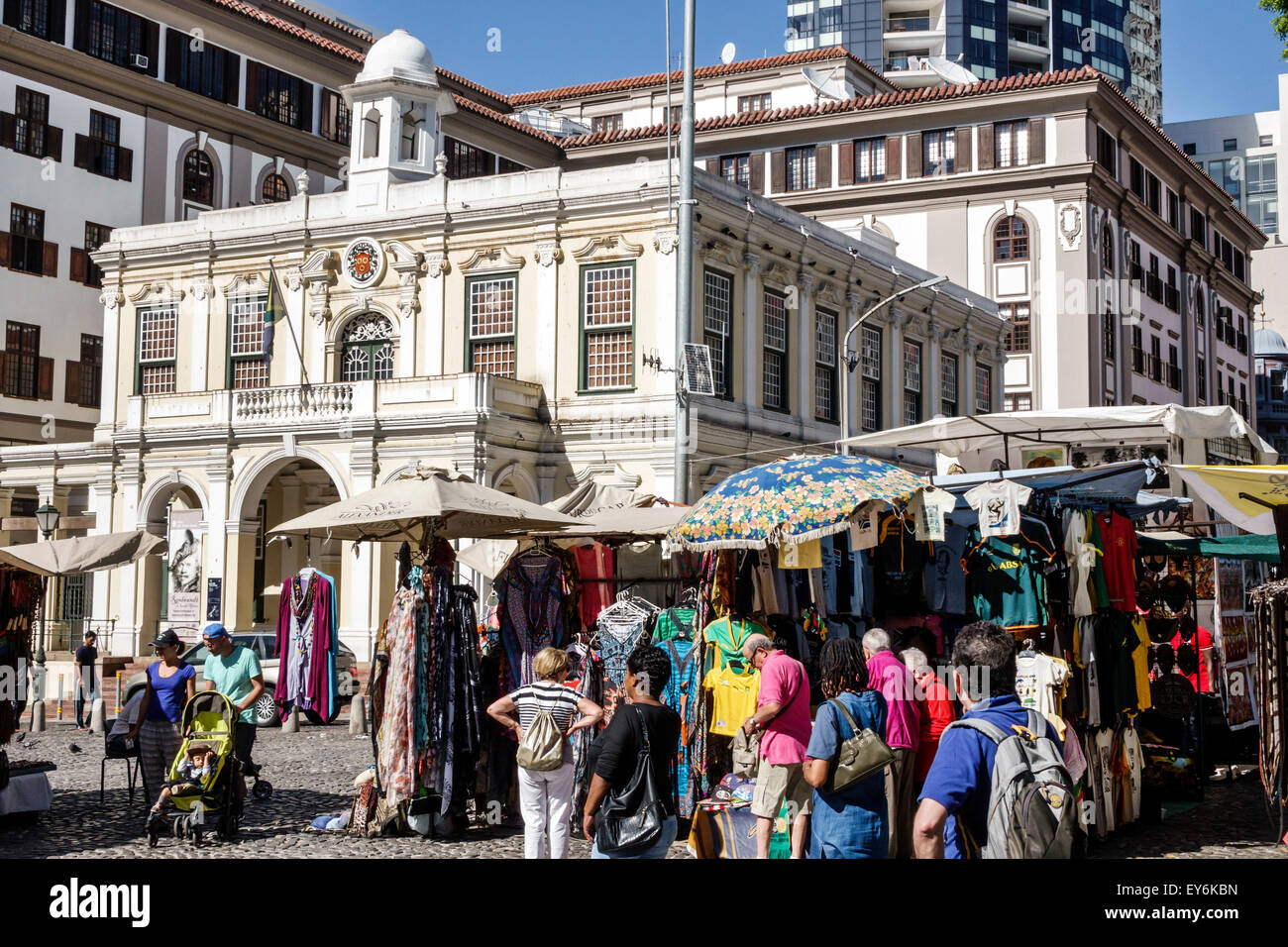 Cape Town South Africa African City Centre center Green Market Square historic vendors stalls sale crafts souvenirs - Stock Image