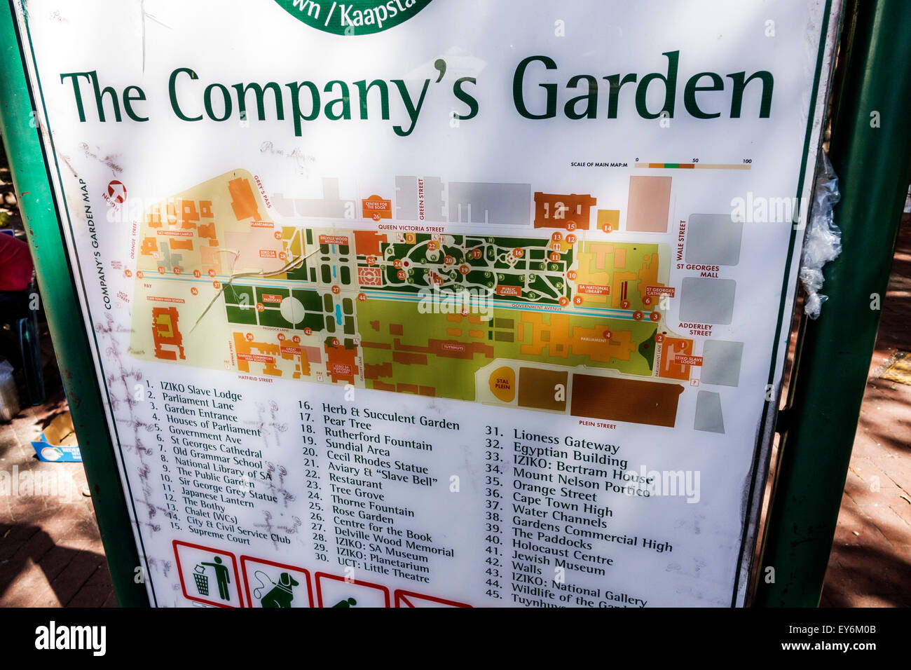 Cape Town South Africa African City Centre center Government Avenue The Company's Garden sign information public - Stock Image