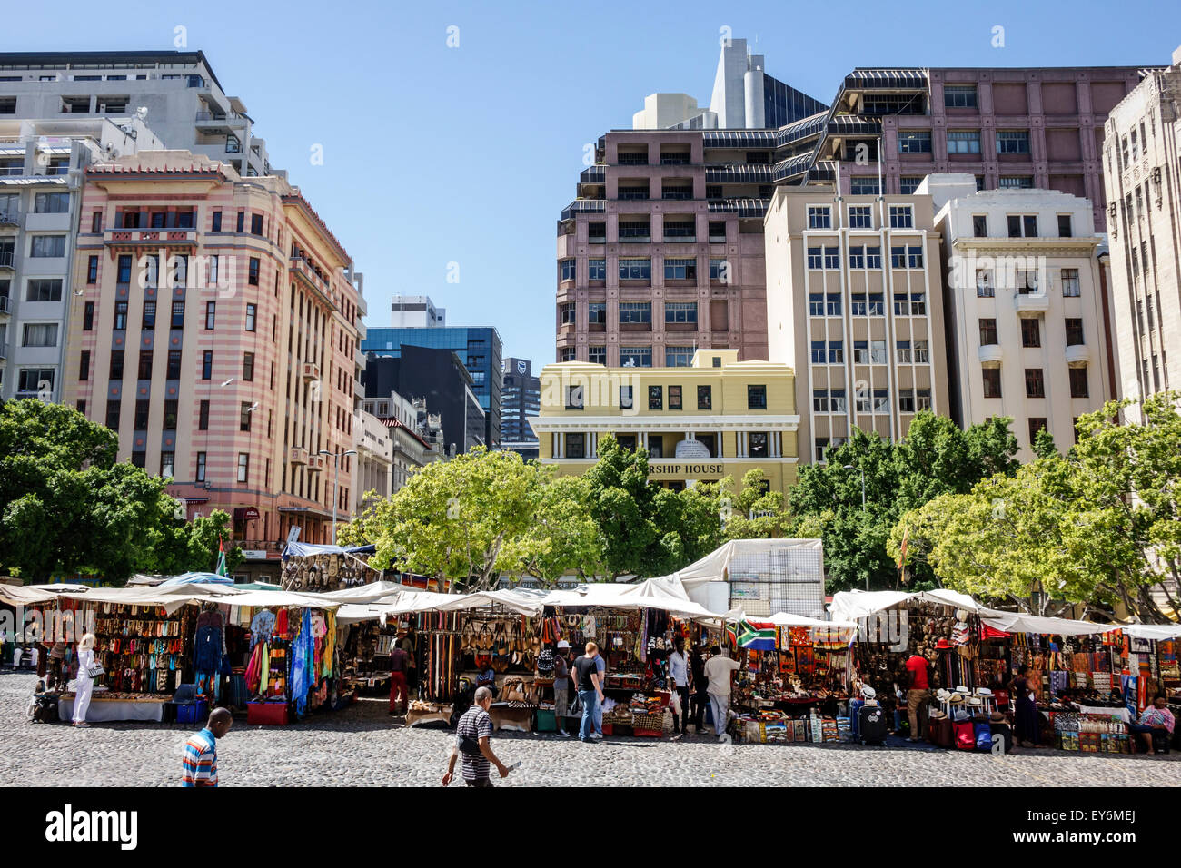 Cape Town South Africa African City Centre center Green Market Square historic vendors stalls sale crafts souvenirs Stock Photo