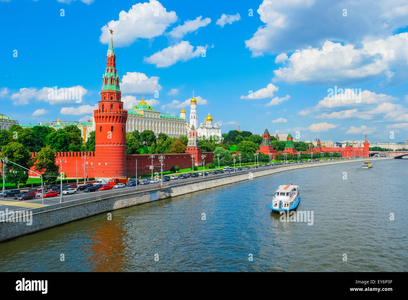 View of Moscow Kremlin and Moscow River - Stock Image