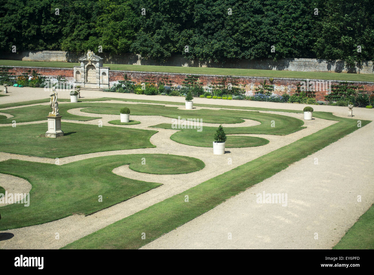 Formal gardens at Kirby Hall, Northamptonshire, UK - Stock Image
