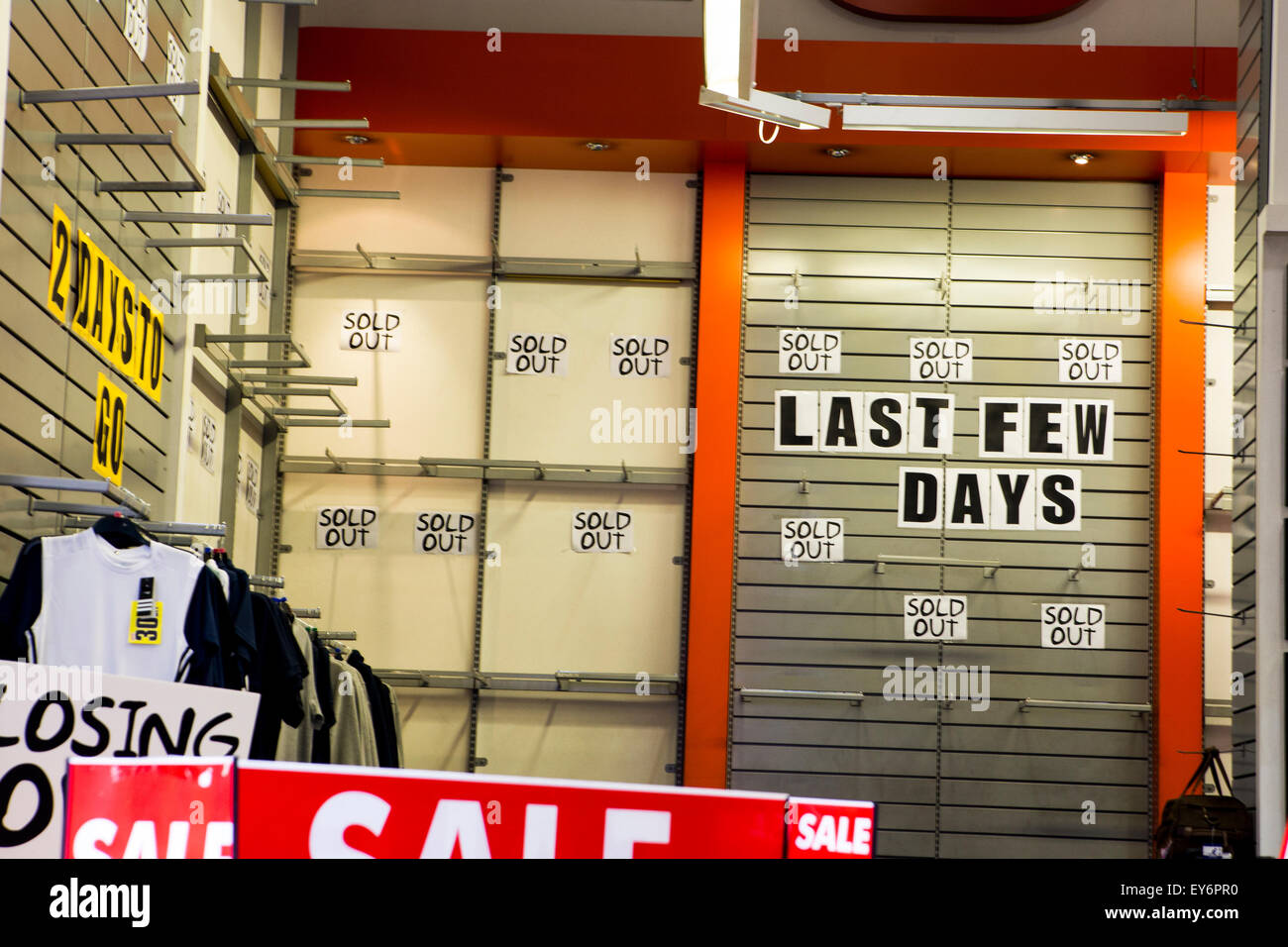 Closing Down Sale in Sports Clothing Shop - Stock Image
