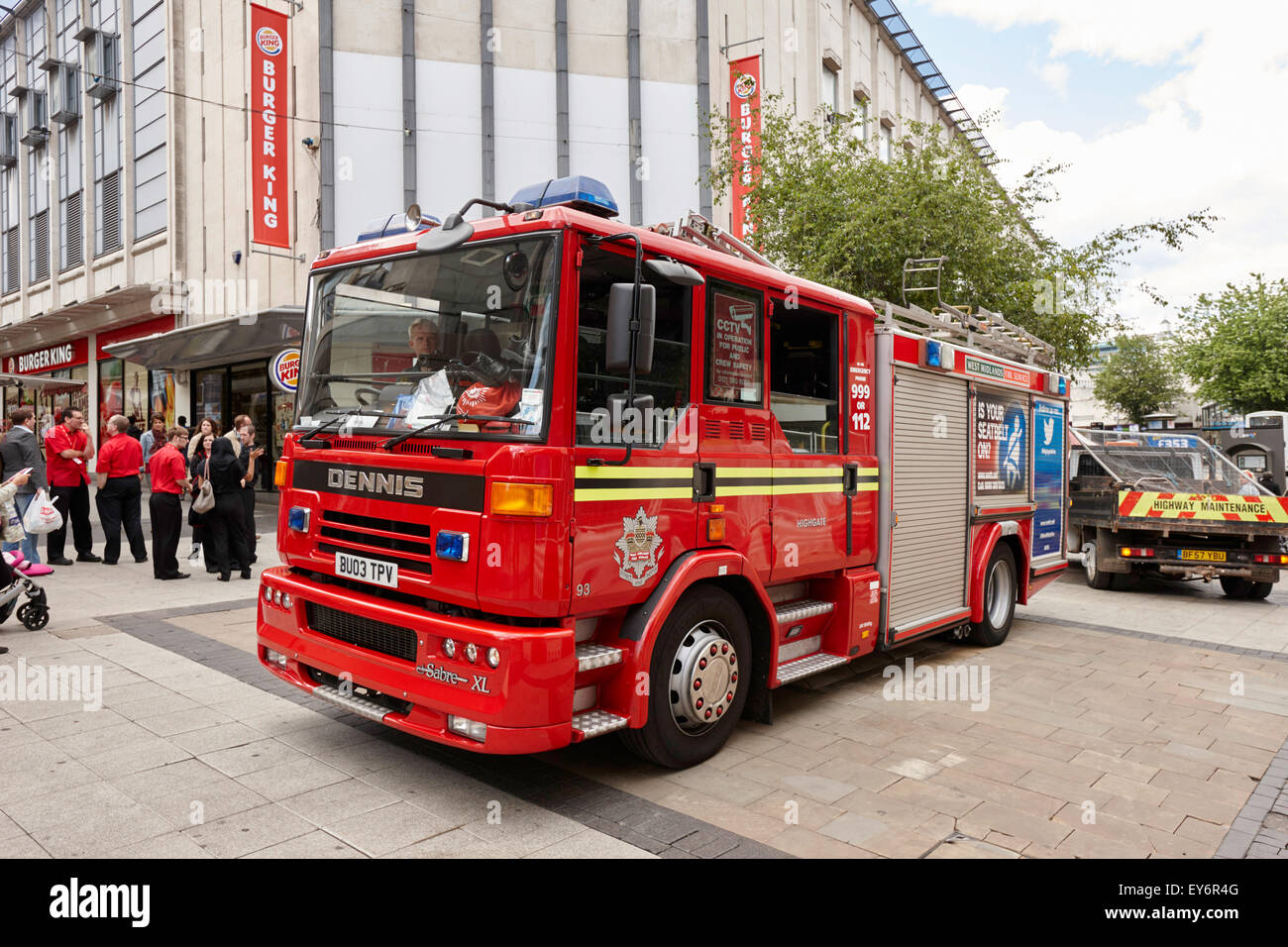 west midlands fire service engine on call in Birmingham city centre UK - Stock Image