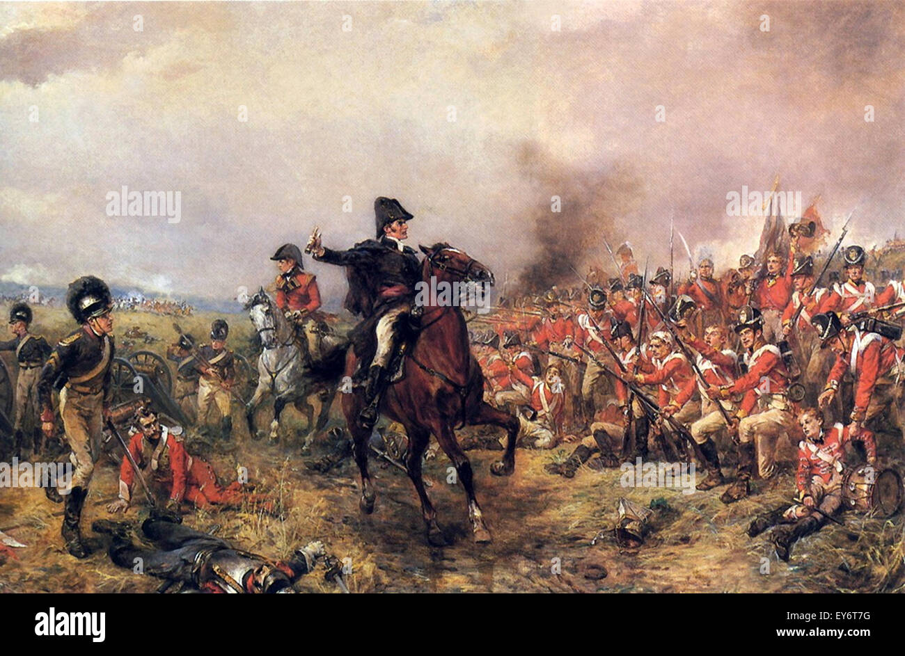 Field Marshal Arthur Wellesley the 1st Duke of Wellington at the battle of Waterloo, painted by the artist Robert - Stock Image