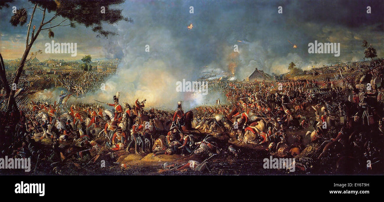 Field Marshal Arthur Wellesley the 1st Duke of Wellington fighting at the battle of Waterloo in 1815. Painting by - Stock Image