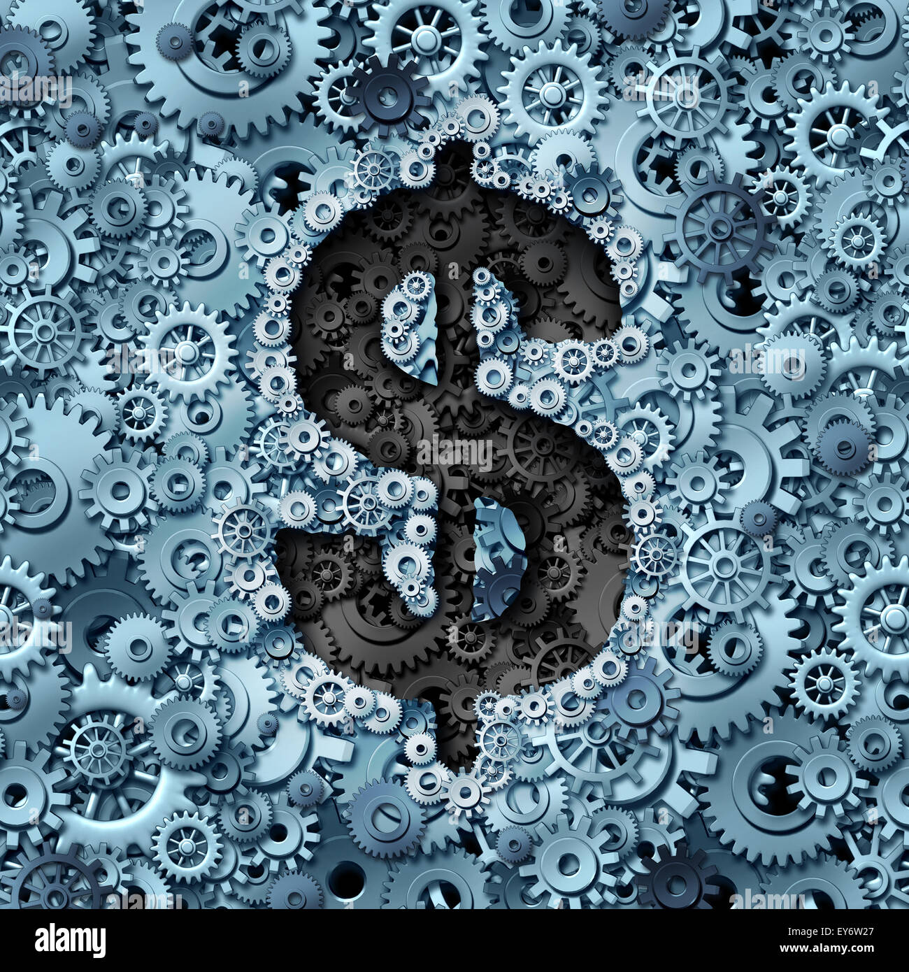 Money machine concept as a financial operations symbol with a dollar sign icon inside a background of gears and - Stock Image