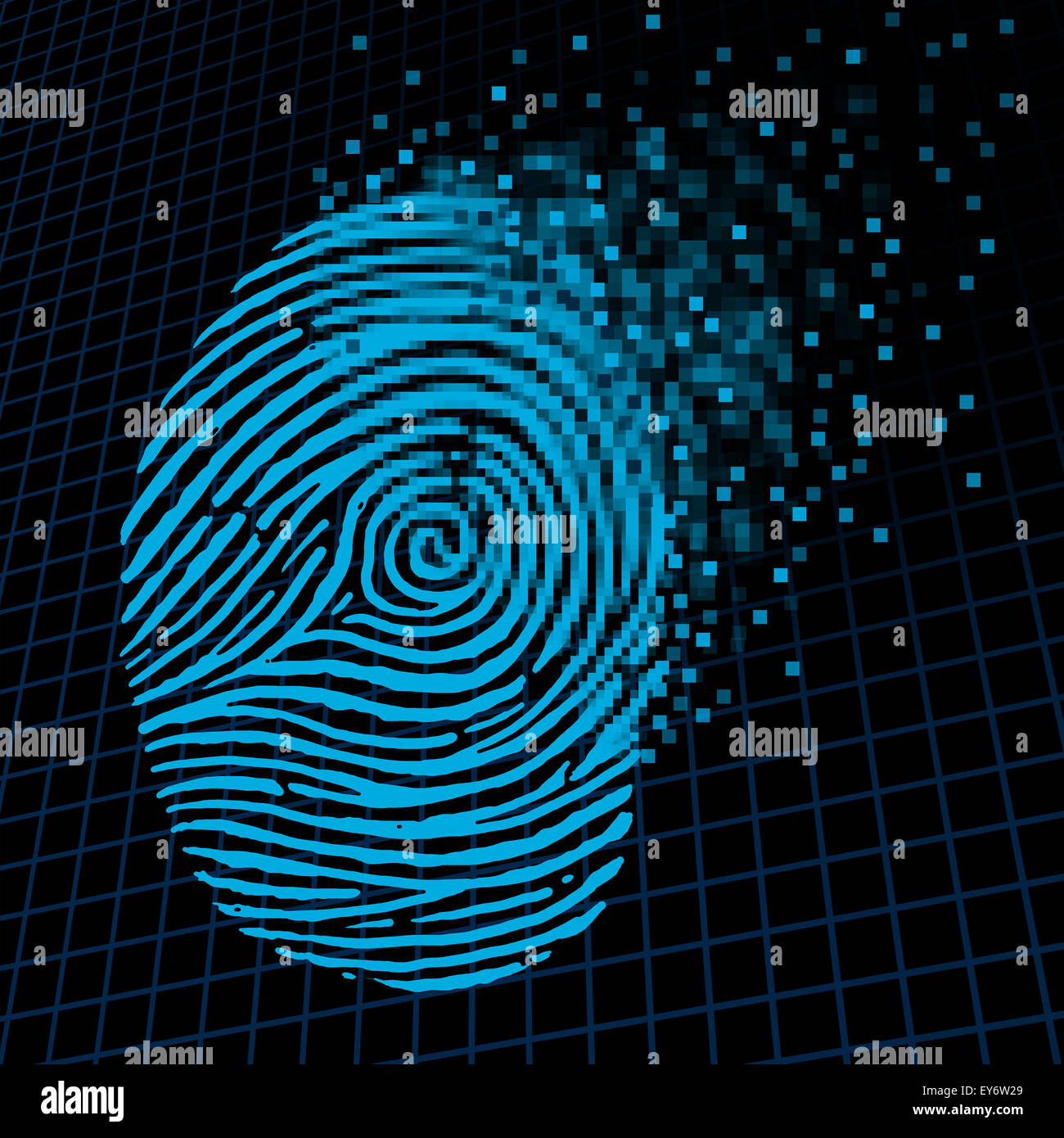 Personal information encryption and private data protection as a digital fingerprint being pixelated into encrypted - Stock Image