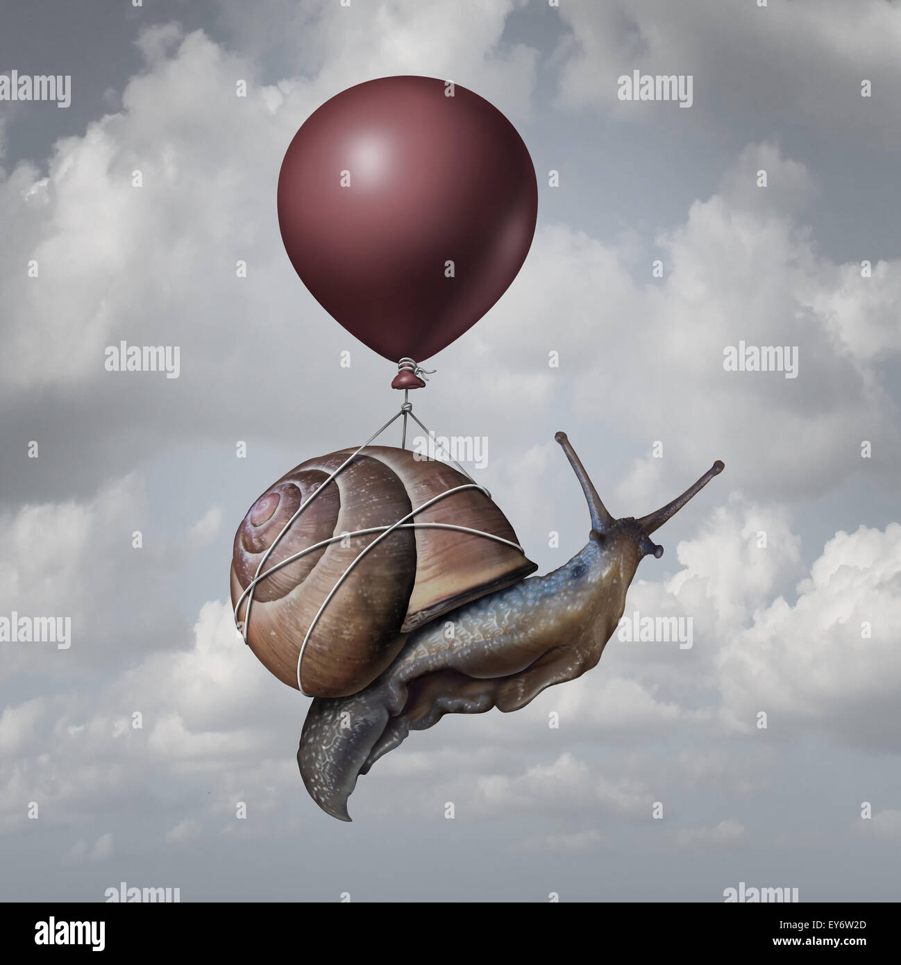 Success concept  and business advantage idea or game changer symbol as a balloon lifting up a slow generic snail - Stock Image