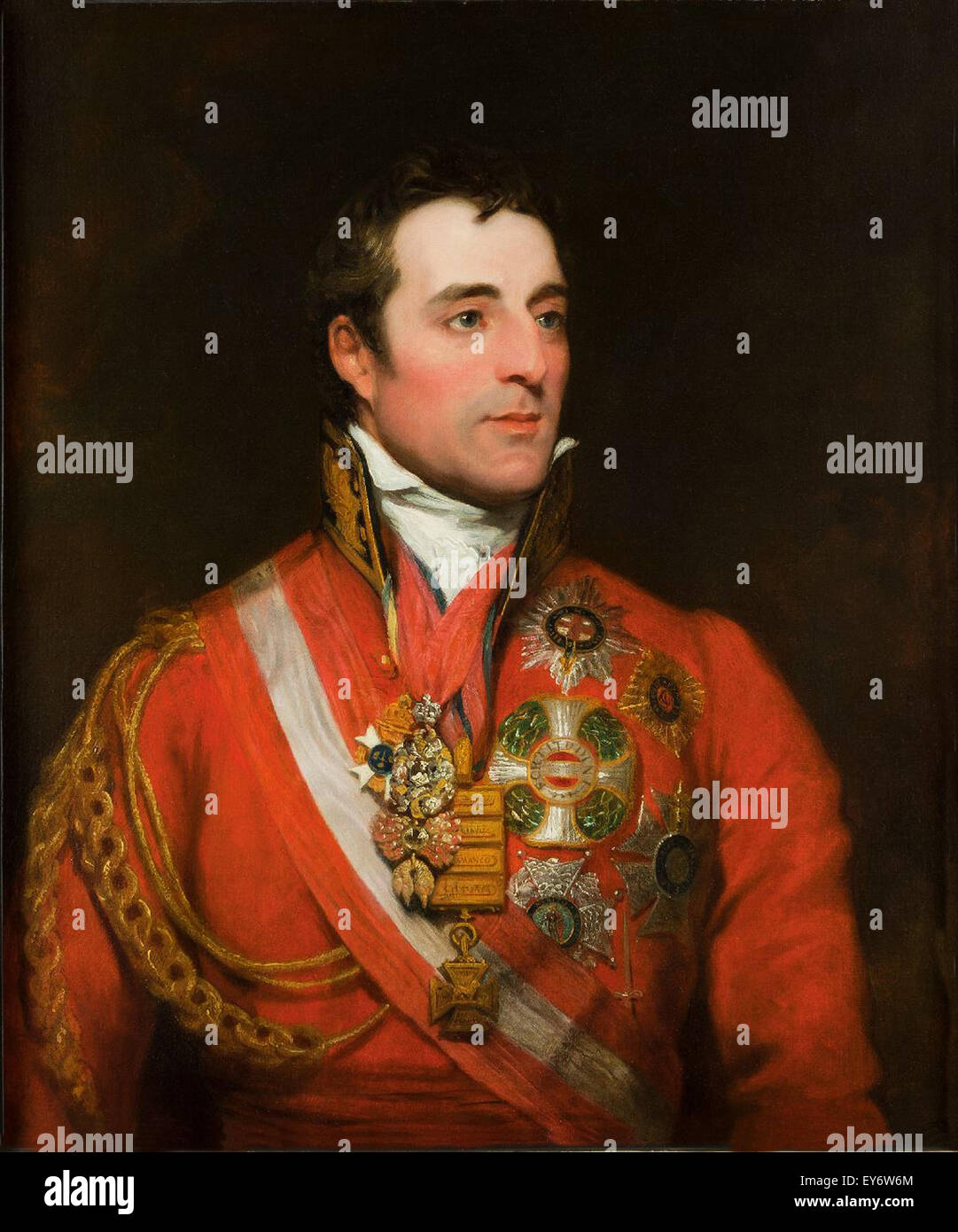 Field Marshal Arthur Wellesley the 1st Duke of Wellington wearing field marshal's uniform with Order of the Golden - Stock Image