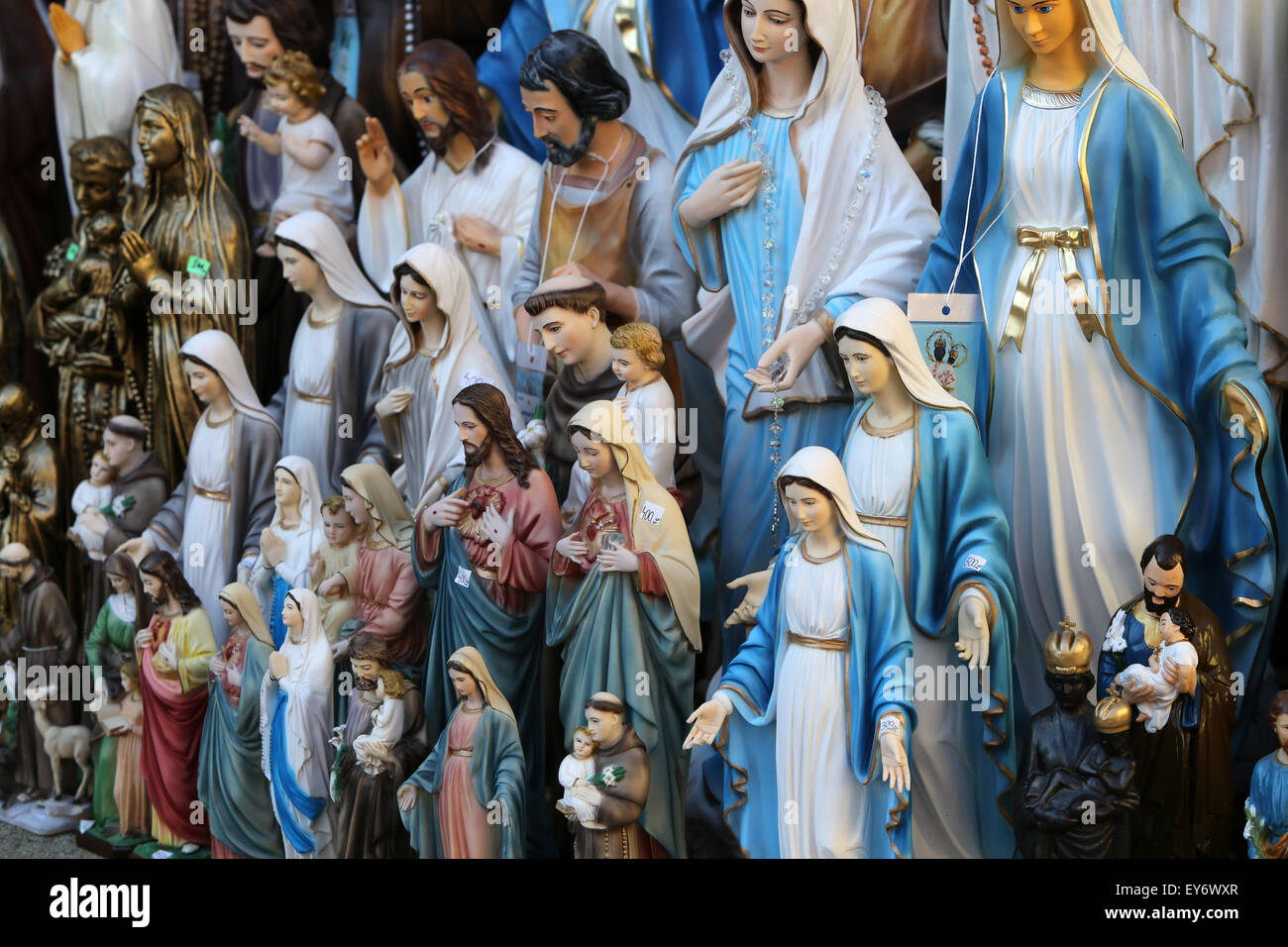 Catholic Religious items, figurines of saints in one of the