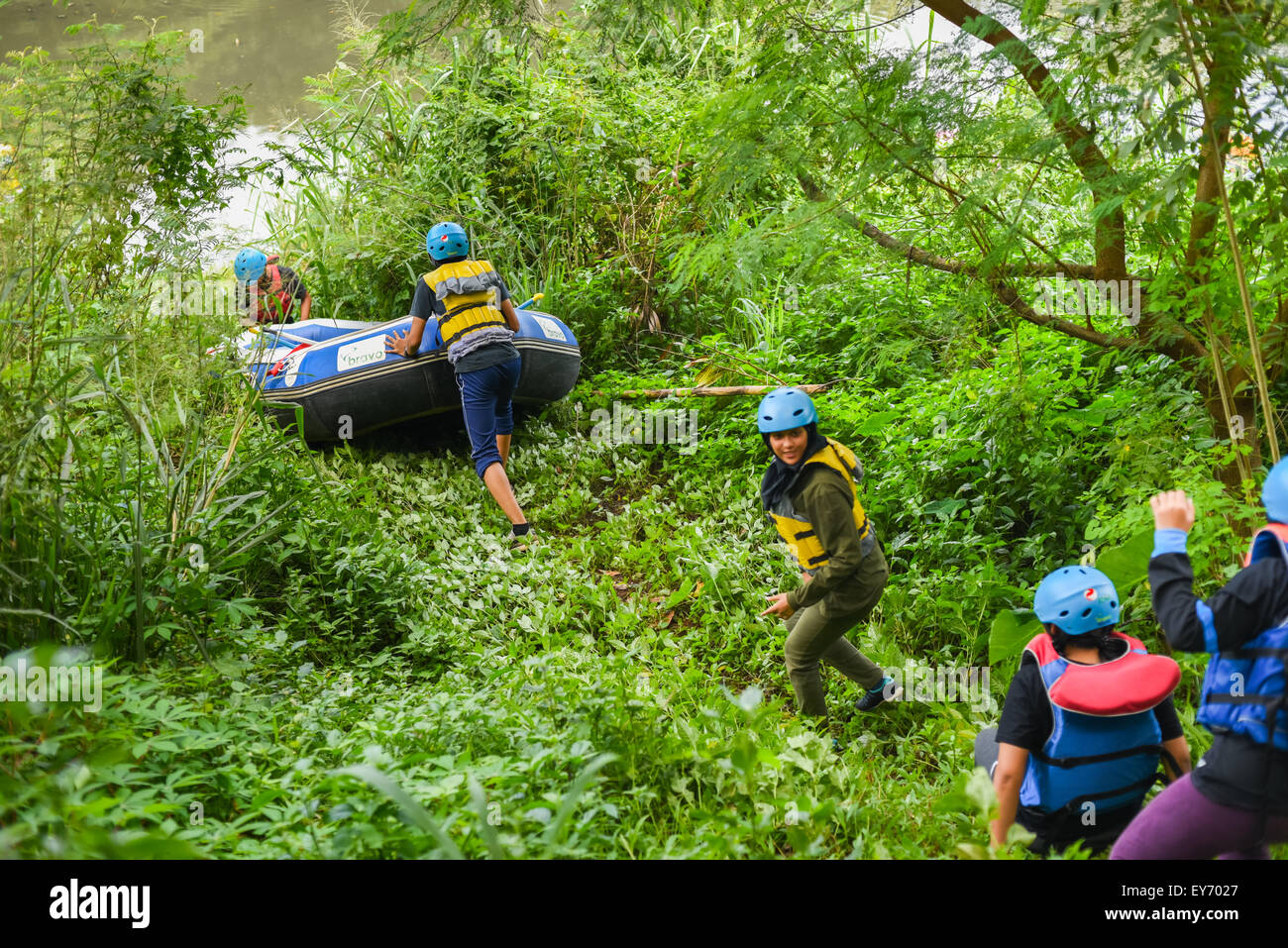University students getting ready to white water rafting training program in University of Indonesia campus, Depok, - Stock Image
