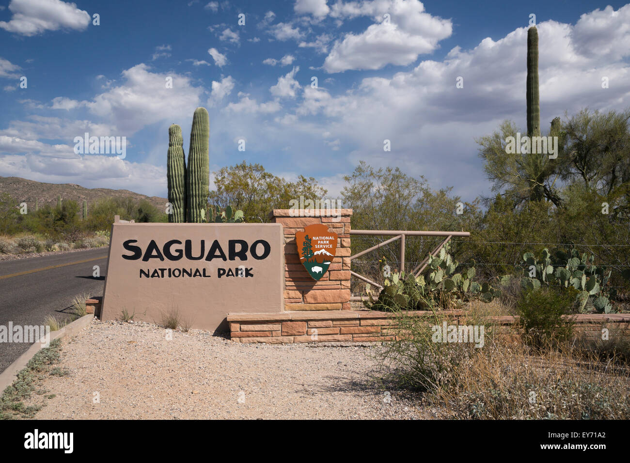 The Saguaro National Park sign at the entrance to the east section of the park near Tucson, Arizona, USA. - Stock Image