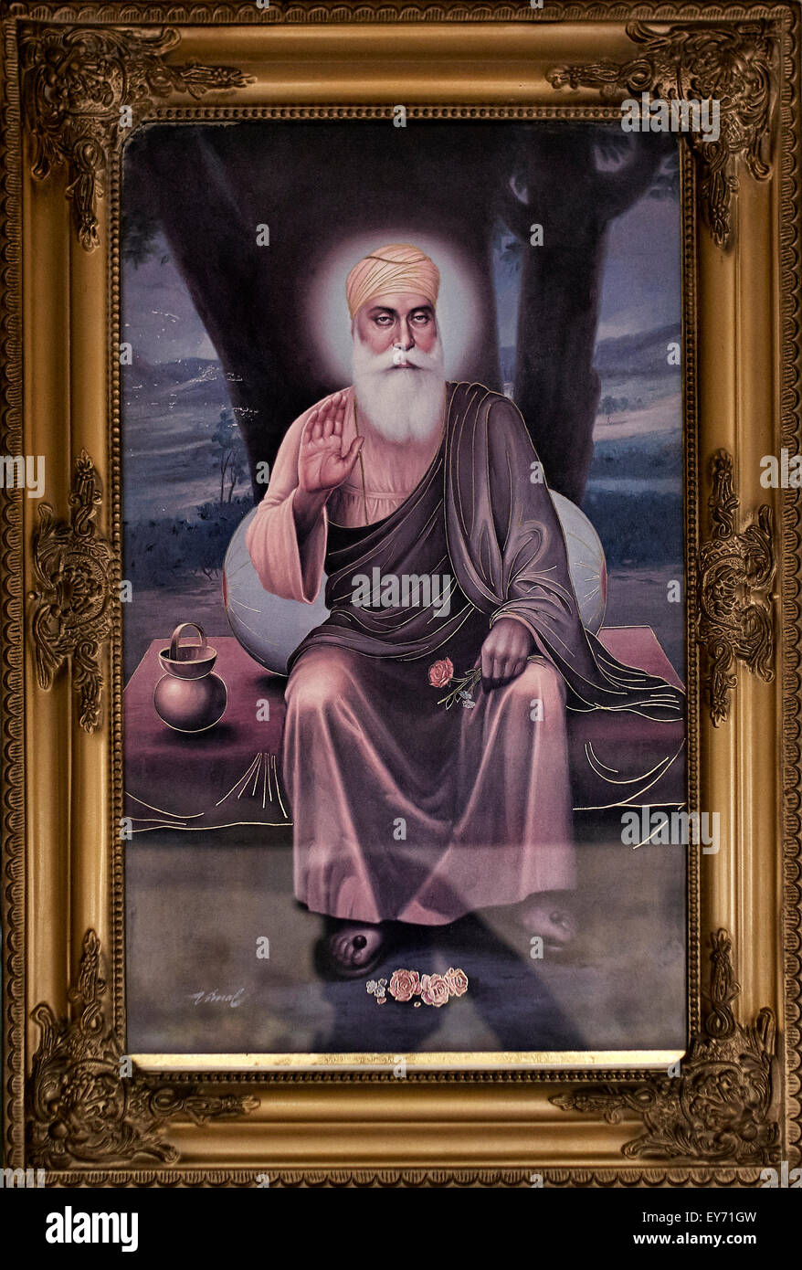 Painting of a revered Sikh Guru - Stock Image