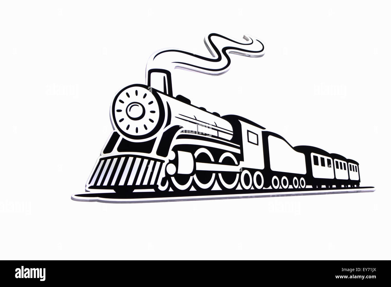 Vector illustration of a vintage American steam locomotive. Black and white photography - Stock Image