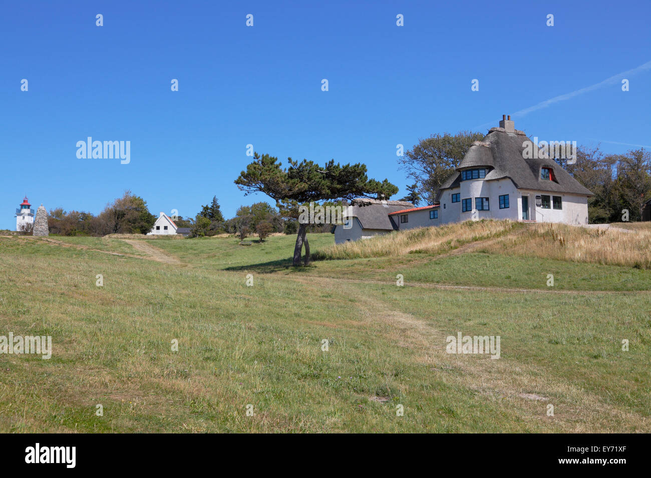 The home of the famous Danish polar explorer and anthropologist, Knud Rasmussen, on the moraine cliff Spodsbjerg Stock Photo