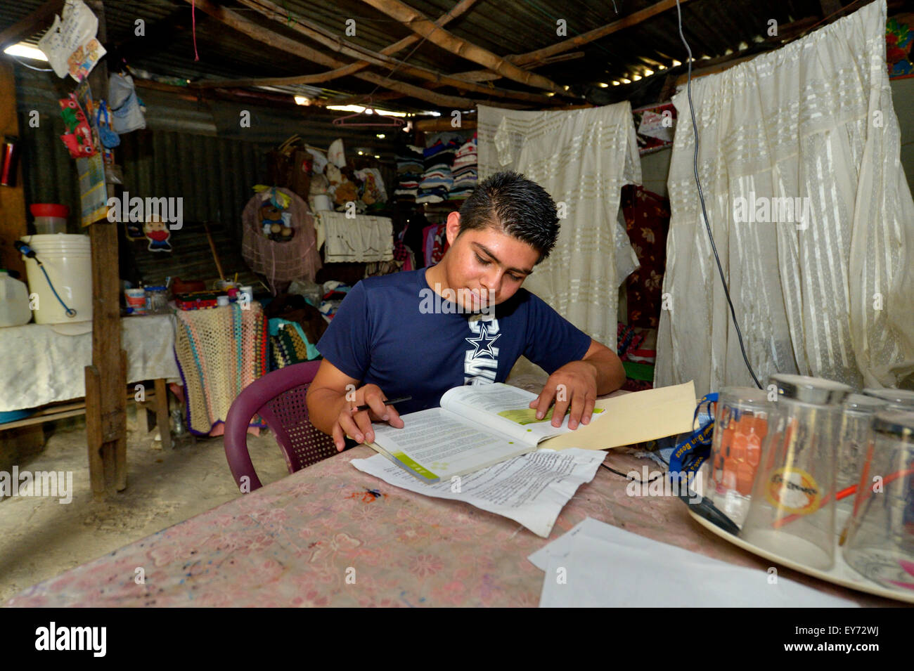 Teenager, 17 years, doing homework in his hut, slum Colonia Monsenor Romero, Distrito Itália, San Salvador, - Stock Image