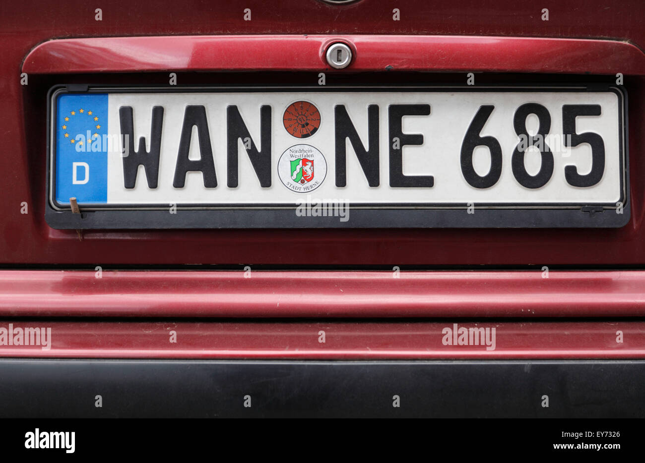 traffic, road traffic, car registration number at a car from Wanne, Germany, North Rhine-Westphalia, Herne, Herne - Stock Image