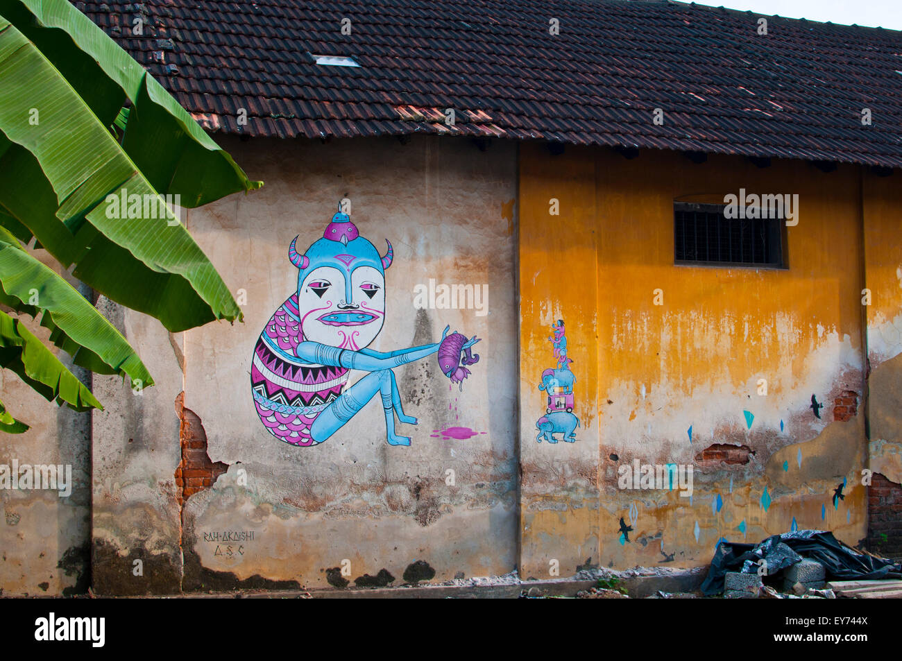 street art at fort cochin bienale 2014/2015, fort cochin, kerala, India, Asia - Stock Image