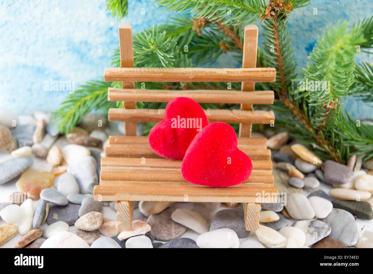 Cool Scene Set With Two Hearts On A Miniature Wooden Bench Stock Short Links Chair Design For Home Short Linksinfo