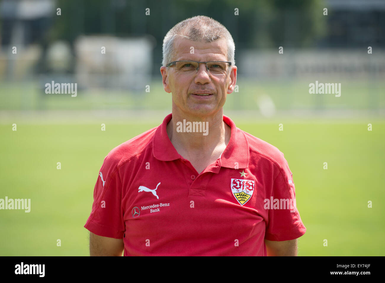 German Soccer Bundesliga 2015/16 - Photocall of VfB Stuttgart on 17 July 2015 in Stuttgart, Germany: Kitman Michael - Stock Image
