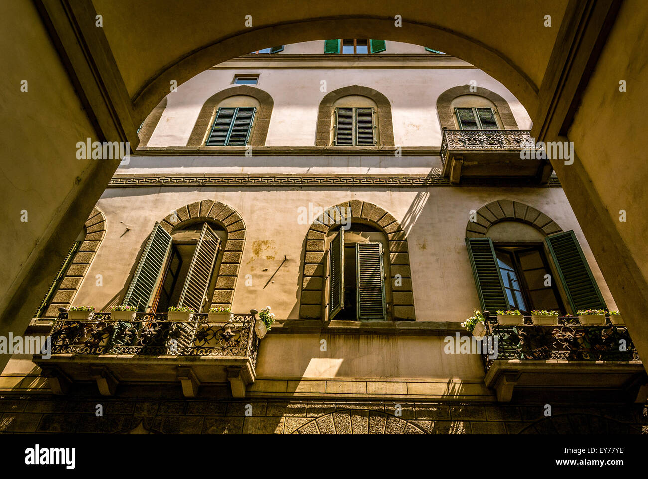 Exterior of a traditional Florentine building. - Stock Image