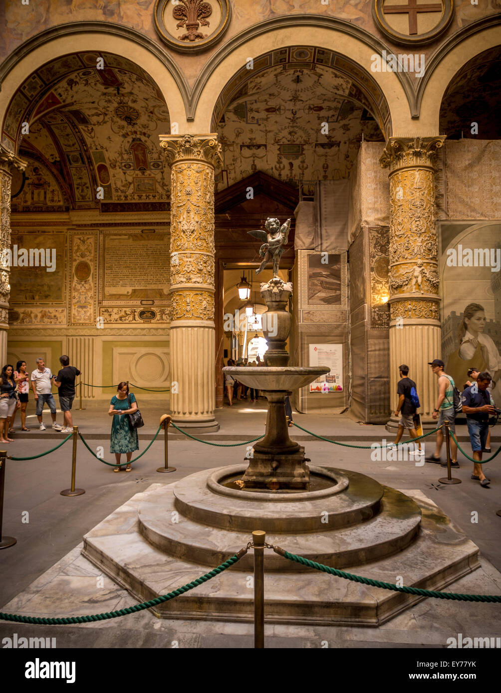 """Putto with Dolphin fountain inside First courtyard """"Palazzo Vecchio"""". Florence, italy. Stock Photo"""