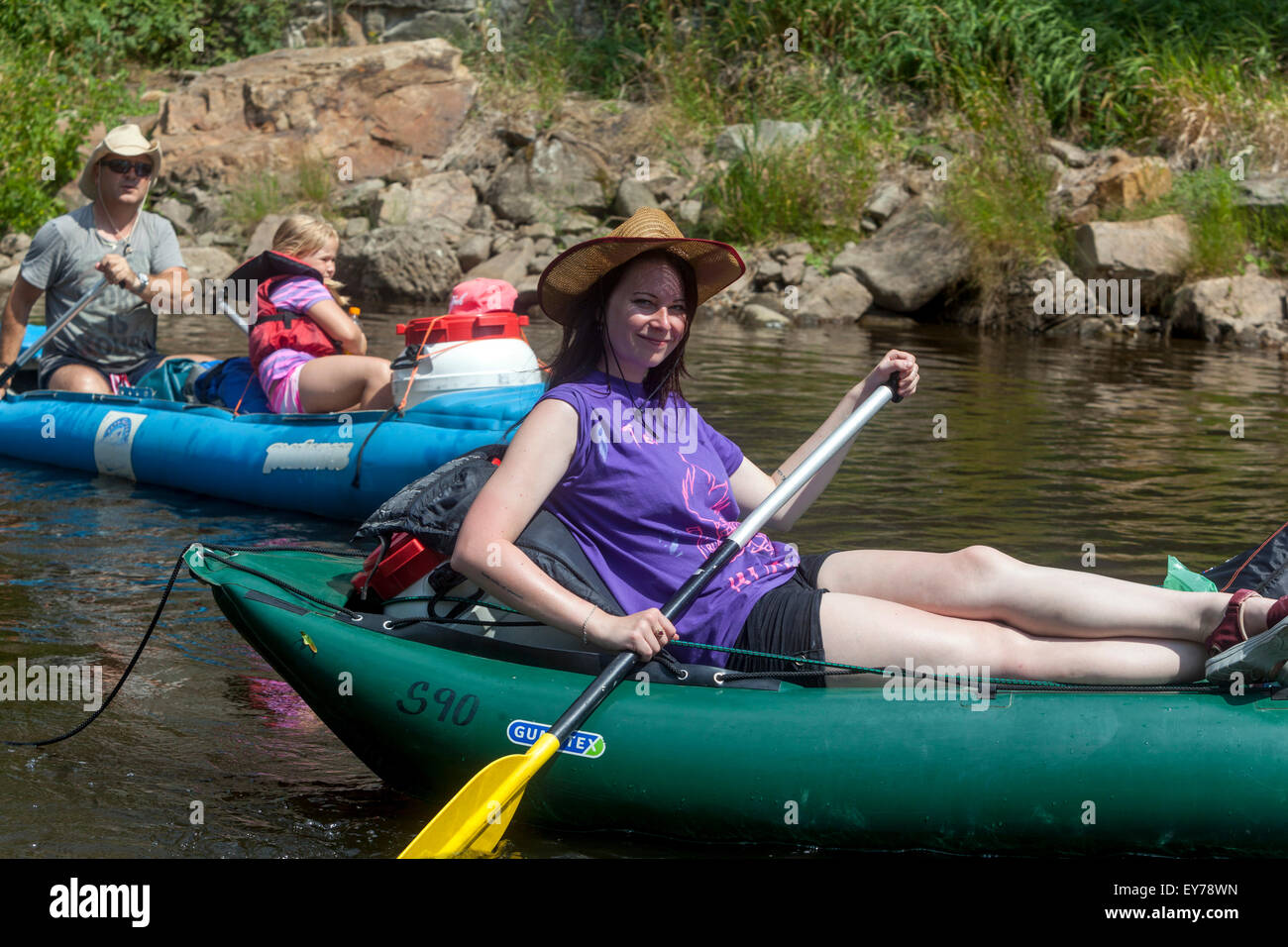 People going down the river Vltava, rafting, South Bohemia, Czech Republic - Stock Image