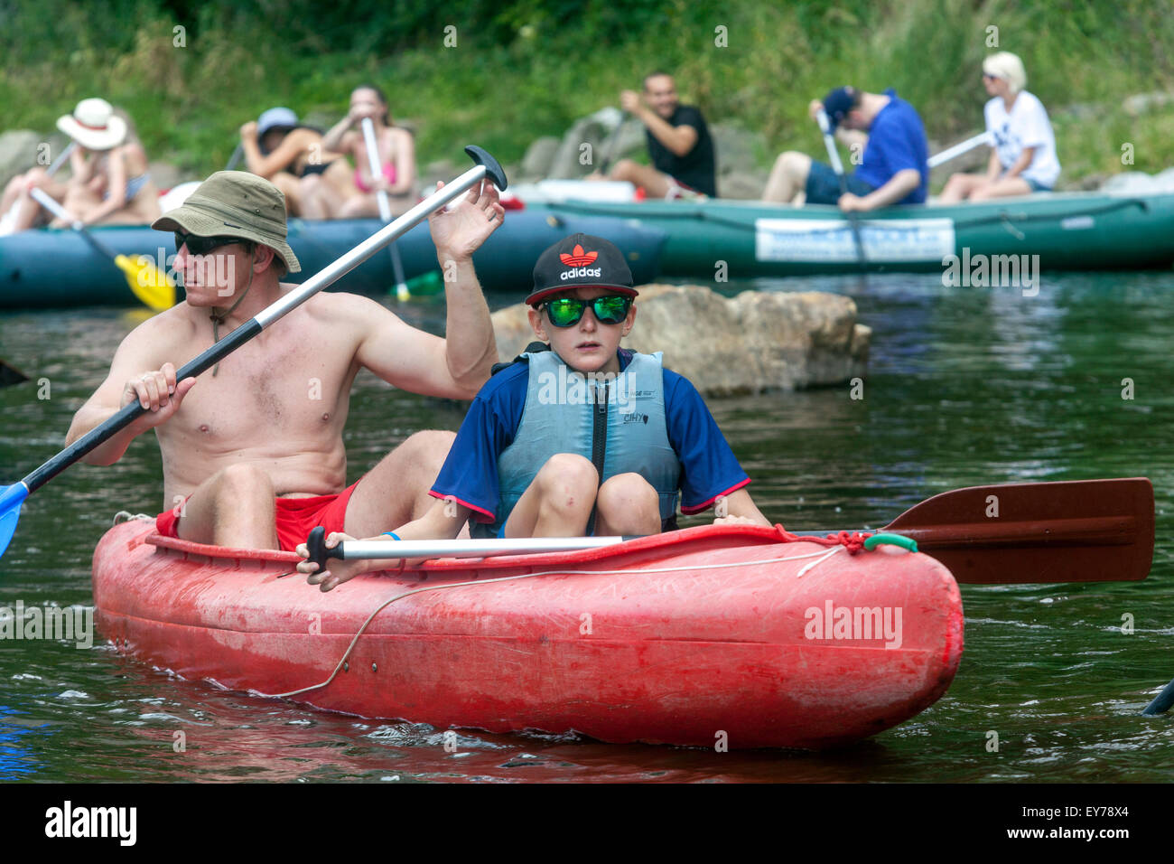 People going down by the river Vltava, canoeing, South Bohemia, Czech Republic - Stock Image