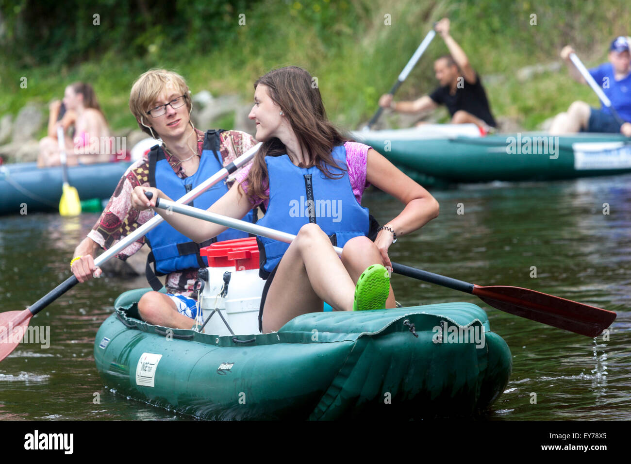People going down by the river Vltava, rafting, South Bohemia, Czech Republic - Stock Image